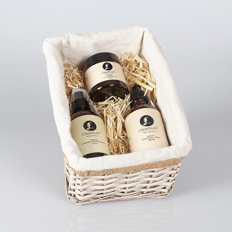 gift basket of cleanser, toner and moisturiser